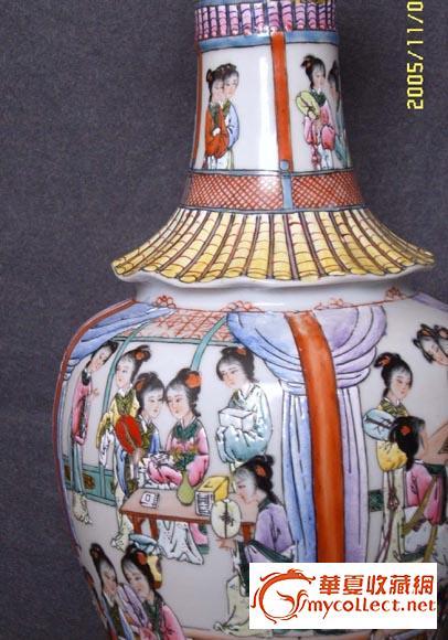 大清乾隆年制仕女珐琅彩瓷瓶图片