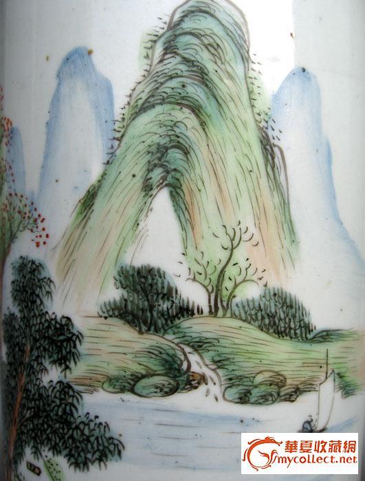 民国水墨彩绘山水人物冒筒