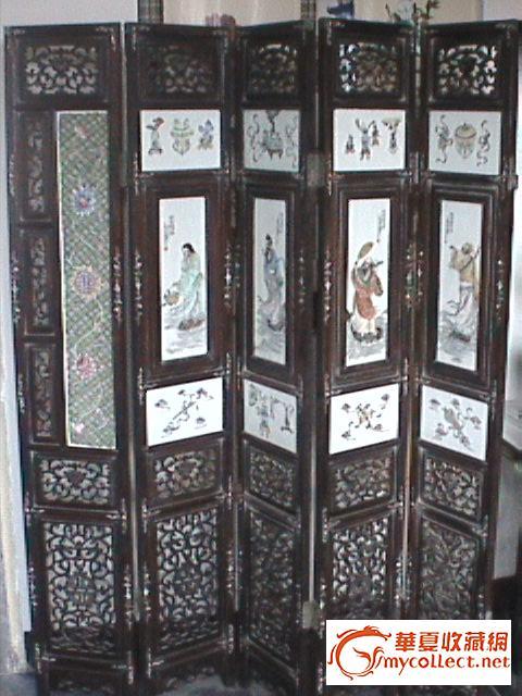 八仙瓷板画屏风图片