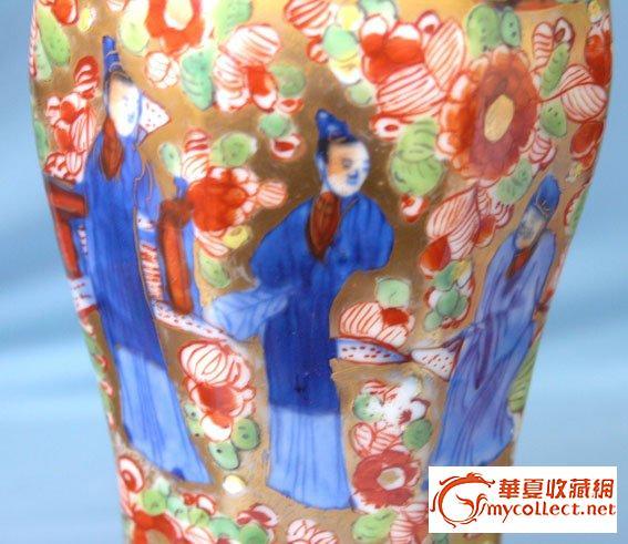 一套雍正的青花红绿彩描金瓶