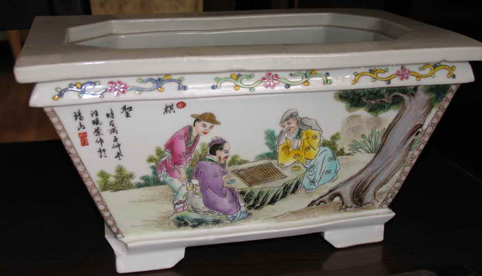 汪晓棠的瓷画花盆