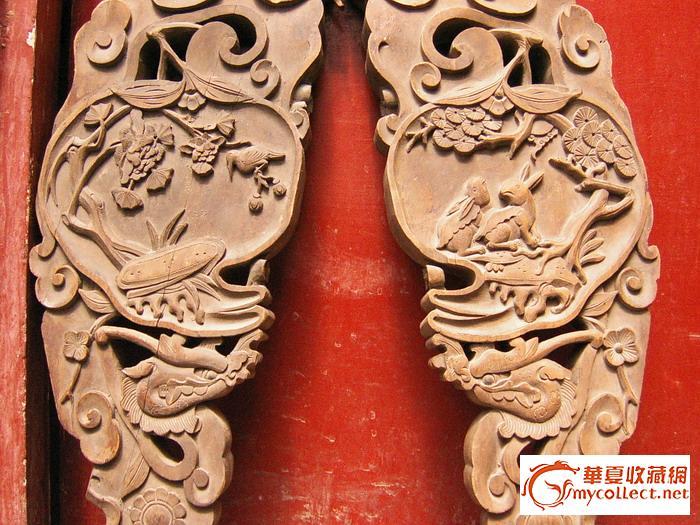 木雕麒麟,玉兔,双面撑角