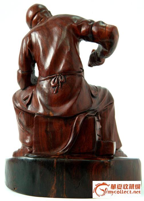 现代紫檀木雕作品《鞋匠》