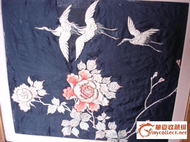 开价300美元的牡丹仙鹤纹刺绣4件--3大1小