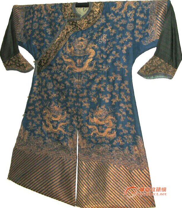 蓝地金绣九蟒五爪蟒袍