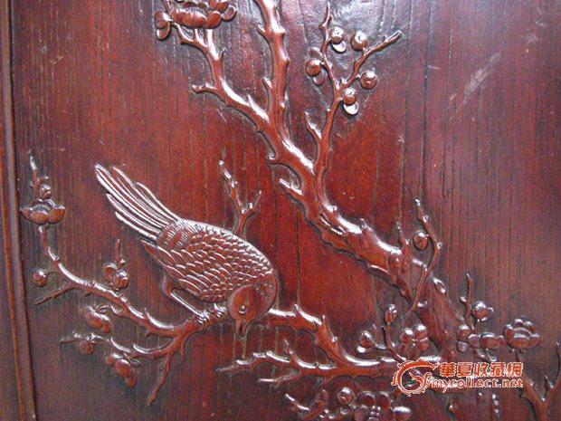 榉木浅浮雕喜鹊登梅花板