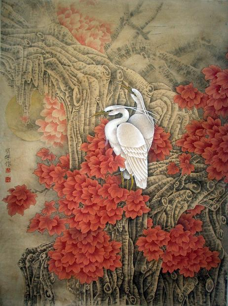 工笔花鸟画 红叶白鹭 请估价