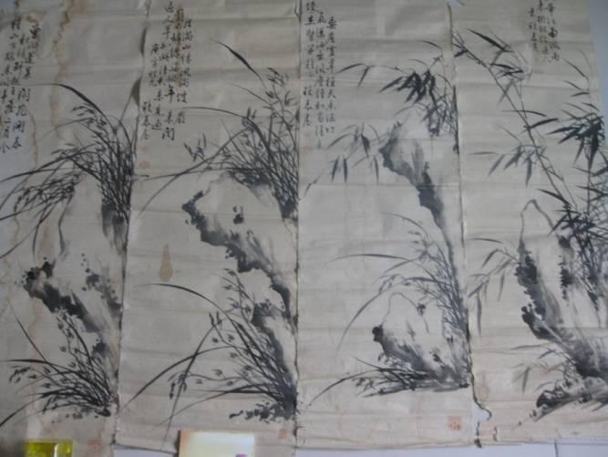 郑板桥:竹子兰花石头图