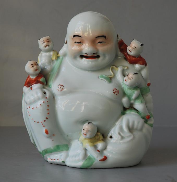 """""""茂记生造""""款,粉彩弥勒佛像"""