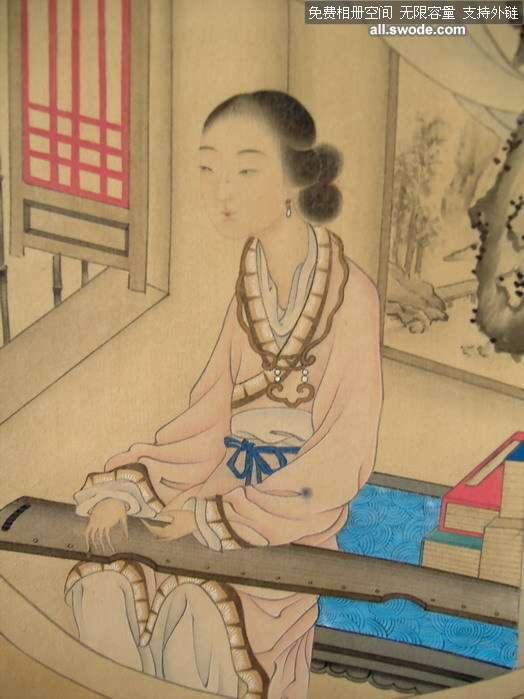原装裱--老绢本抚琴古典美女
