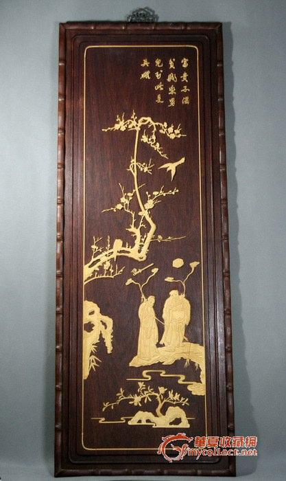 """红木橱门板加工制作,后加竹节框,挂钩,八仙图为黄杨木雕刻后""""甬工"""""""