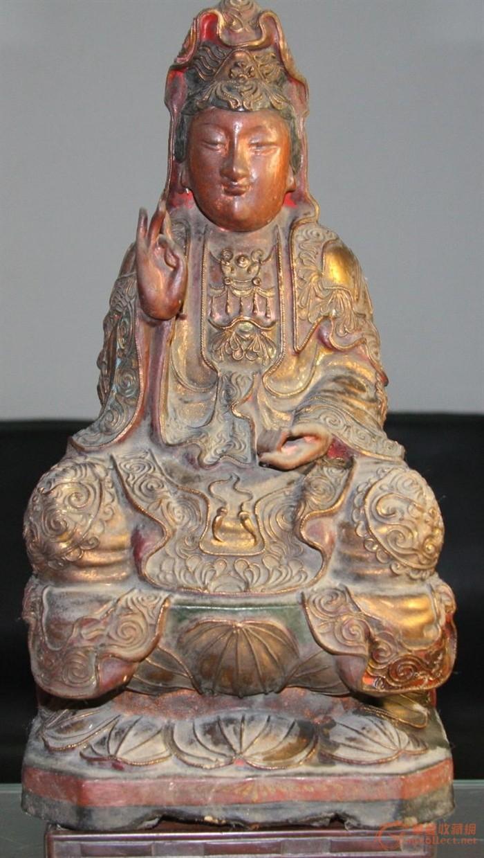 木雕观音坐像