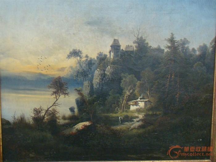 未签名的油画,风景,浪漫的城堡和家庭,美好的夜晚,很可能在奥地利和