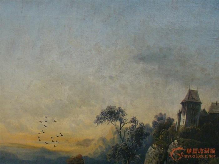 未签名的油画,风景,浪漫的城堡和家庭
