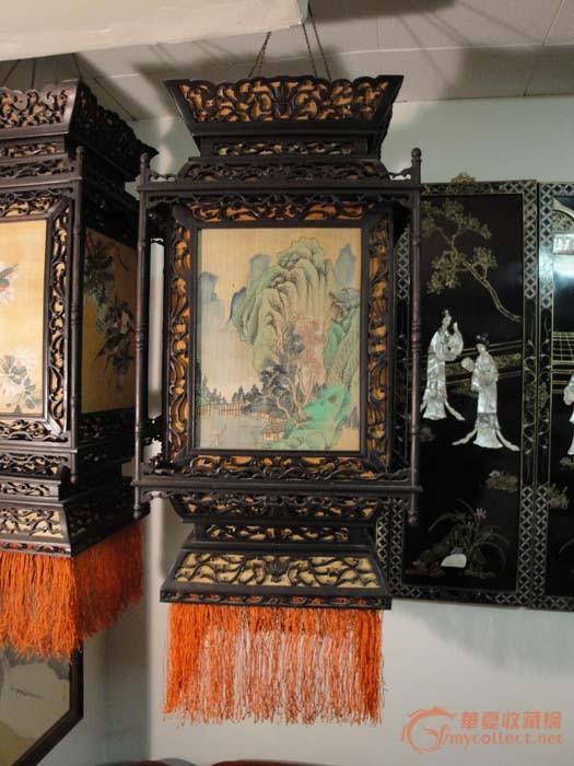一对清代苏式红木雕刻四面画花鸟