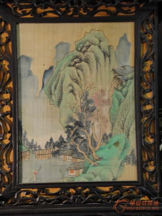 一对清代苏式红木雕刻四面画花鸟,山水宫灯请共赏