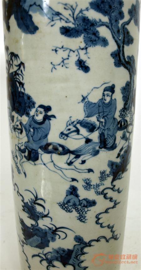 康熙青花人物纹饰筒瓶图片