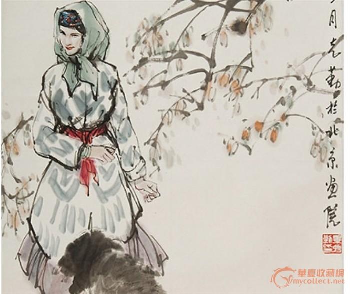[赛]著名书画家毕克勤先生《少女与小狗》