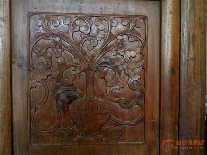 榉木材质的 老床  雕花精细