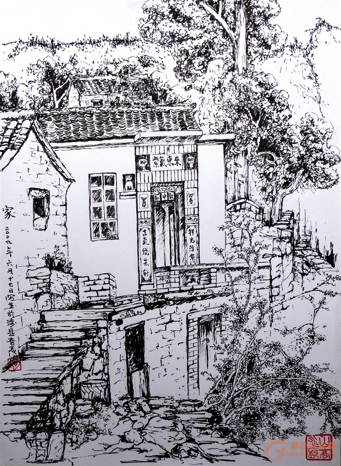 庐山风景写生钢笔画; 勾奇志美术作品欣赏;