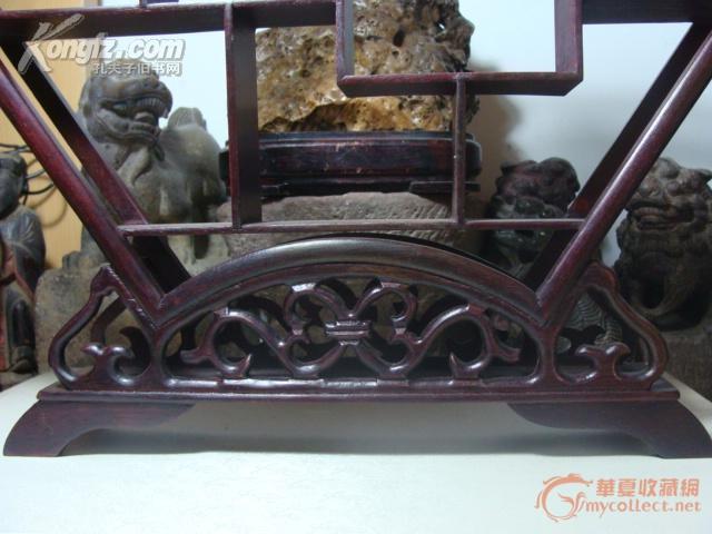 老红木扇形博古架