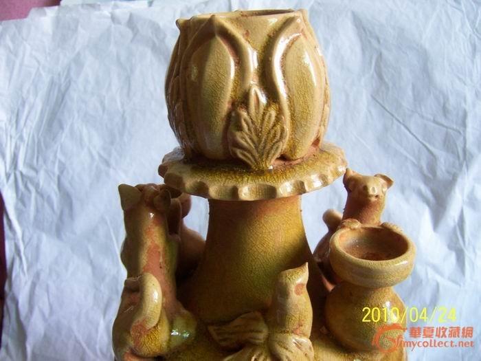 洪州窑南北朝堆塑动物莲花瓶
