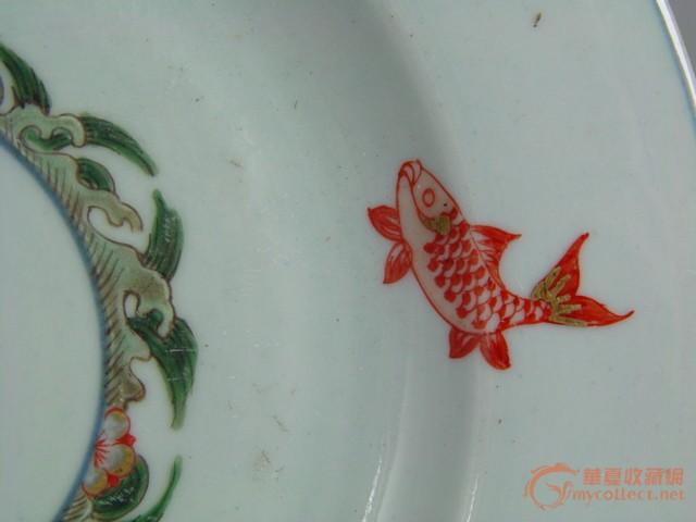 五彩锦鲤纹瓷盘