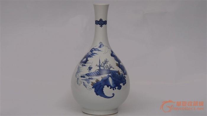 人物 青花/青花釉里红山水人物胆瓶,高39厘米.