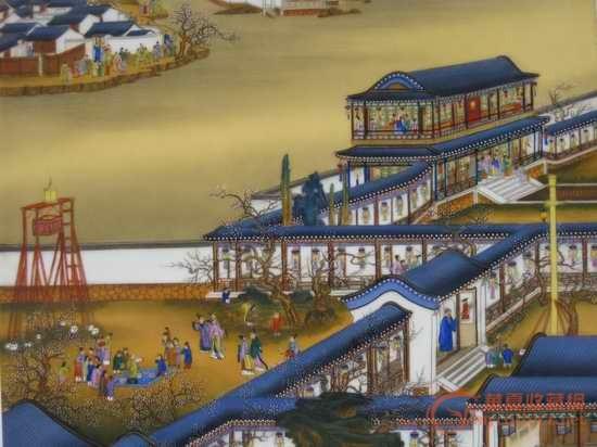 宫廷画师郎世宁绘雍正圆明园12月行乐图瓷板-图4