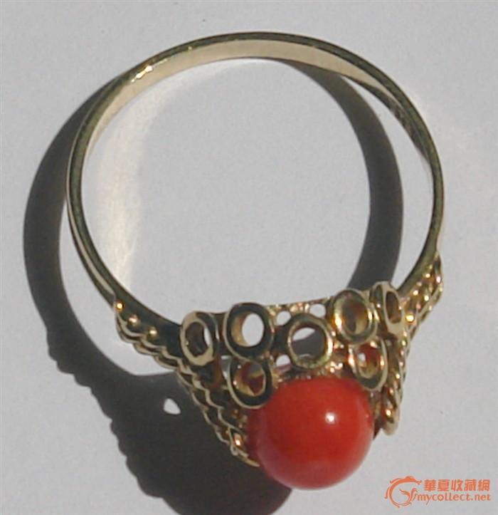 赛宝~~镶嵌天然珊瑚的8k金欧洲古董戒指