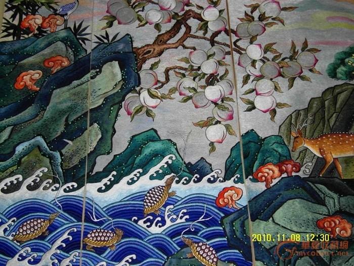 高 150 宽 42 品相 完整 朝鲜手工刺绣 完美 森林 动物 刺绣 一共 10