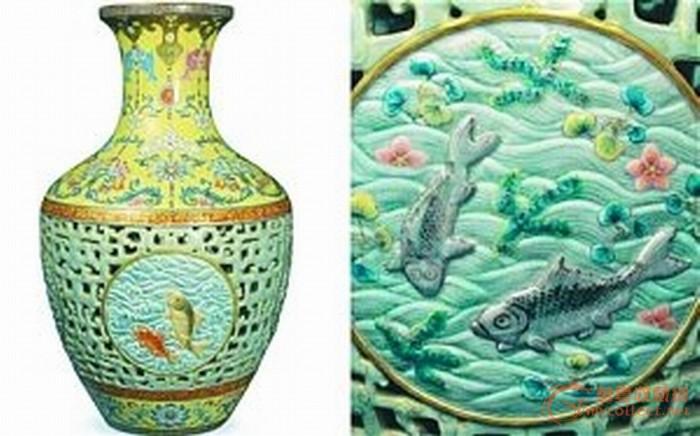 网友质疑中国买家天价拍回清乾隆粉彩镂空瓷瓶图片