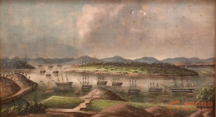 19世纪外销广东风景通草画