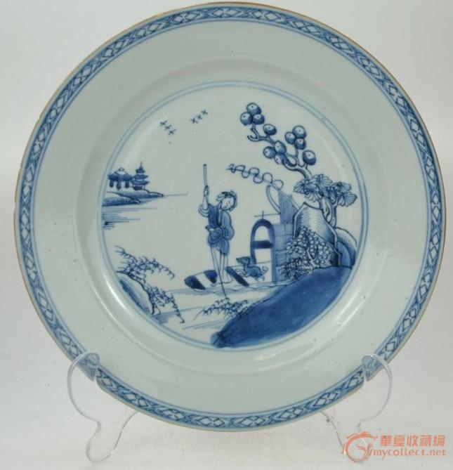 清康熙青花渔家乐纹饰盘图片