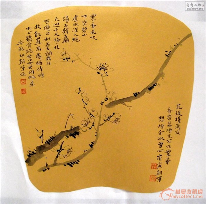 团扇手绘图片梅花