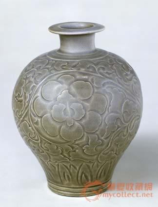 【名称】:宋耀州窑青釉刻花瓶   【类别】:瓷器   【年代】:北宋