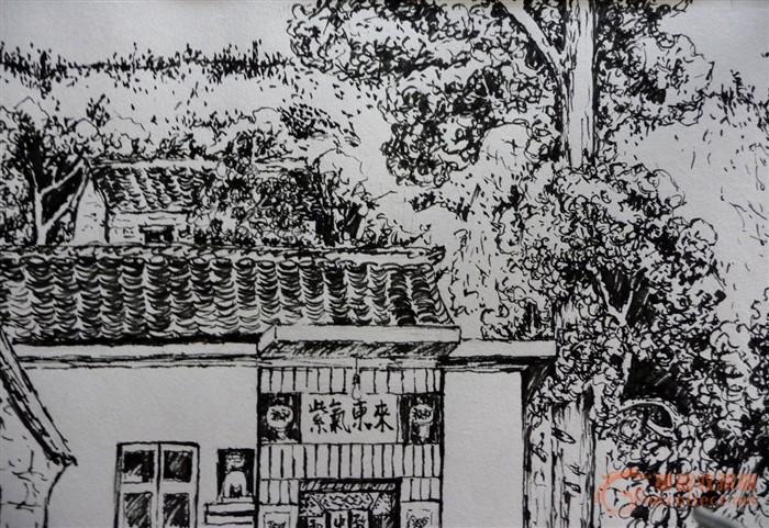 简易钢笔画钢笔画入门钢笔素描建筑钢笔画中德天空的