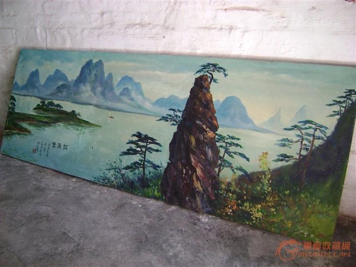 纺布手绘山水画