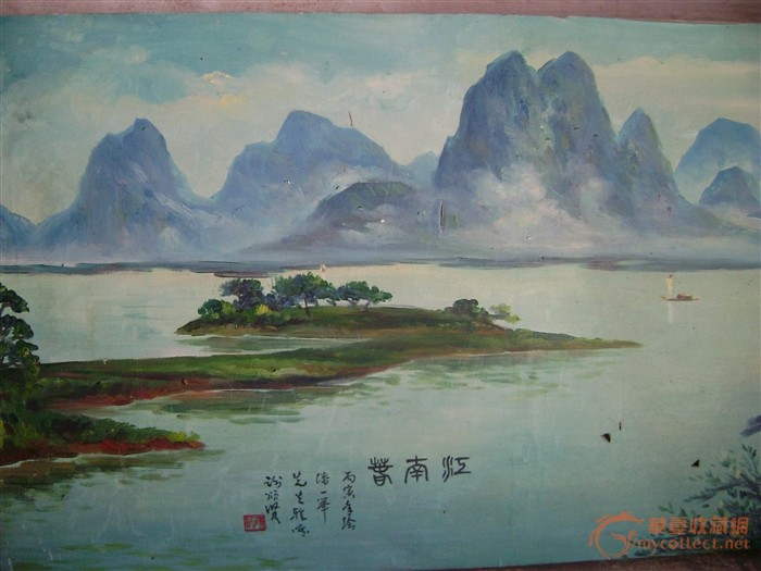 纺布手绘山水画图片
