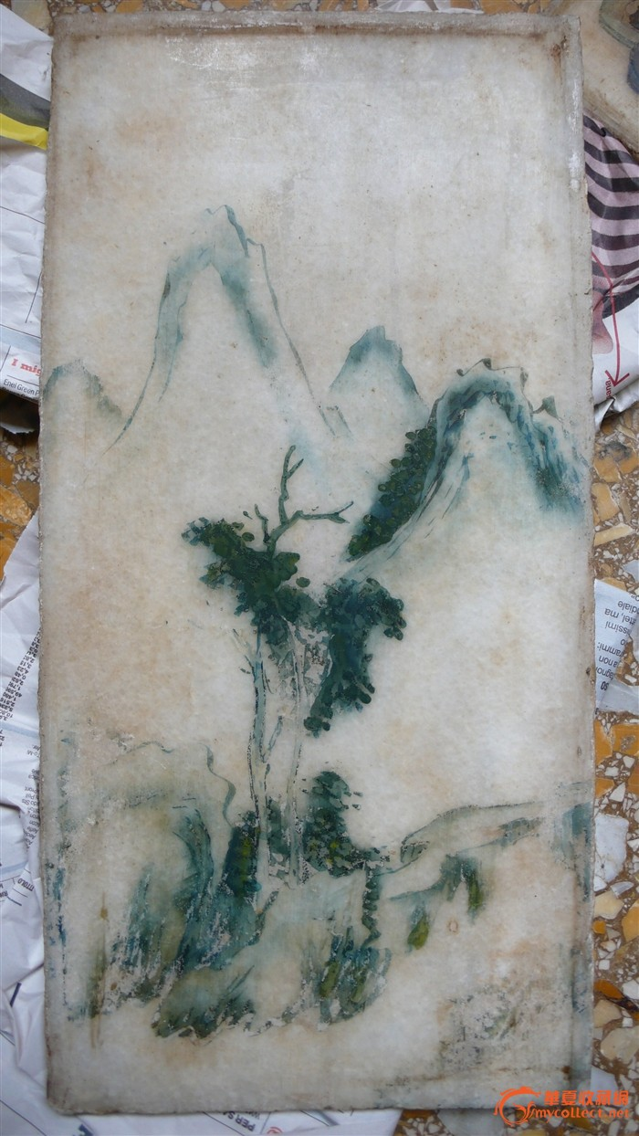 山水石头屏风图片