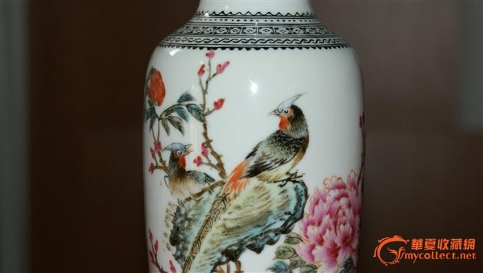 雉鸡牡丹棒槌瓶