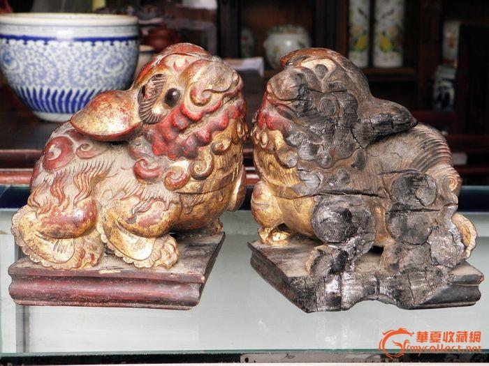 清代,木雕狮子一对 (案桌上的摆件)