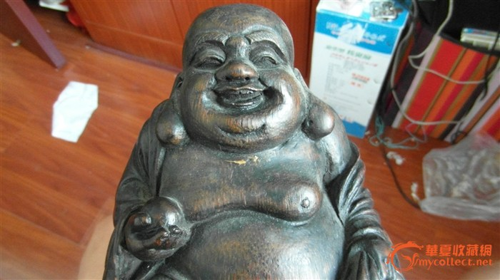 老竹雕弥勒佛和刘海戏金蟾