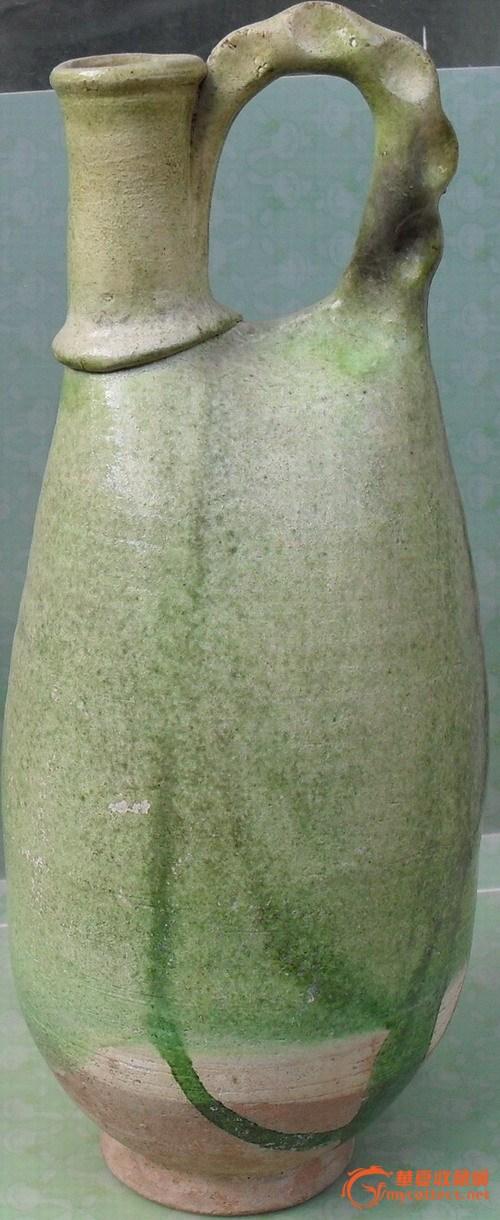 辽绿釉提梁式鸡冠壶
