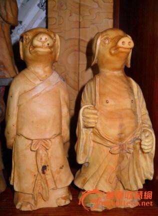 黄杨木雕十二生肖兽首人身