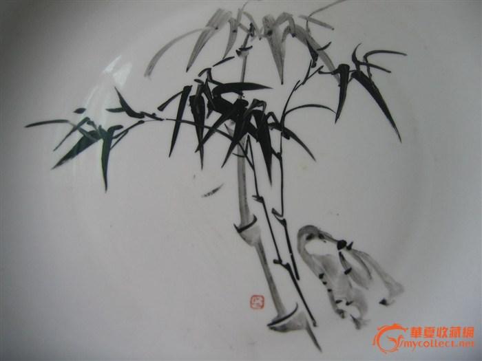 文革手绘竹子大盘