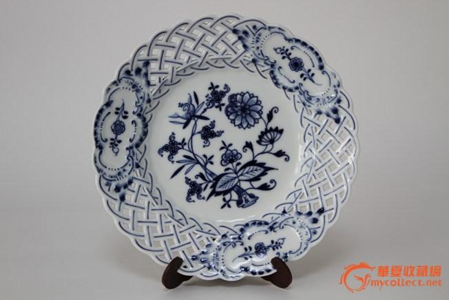 德国meissen(梅森)青花蓝洋葱镂空盘