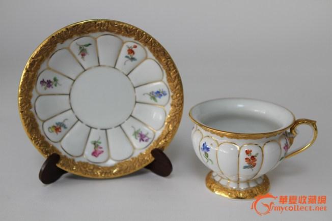 欧洲第一名瓷meissen(梅森)24k镀金手绘咖啡杯碟,30-40年代制造保存