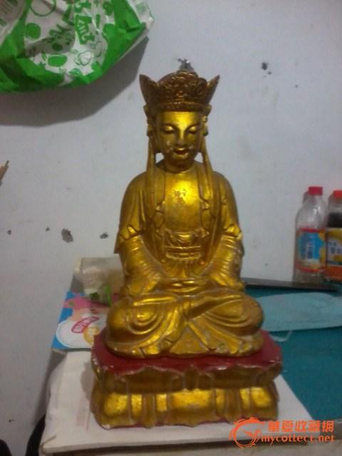 清漆金樟木雕地藏王菩萨