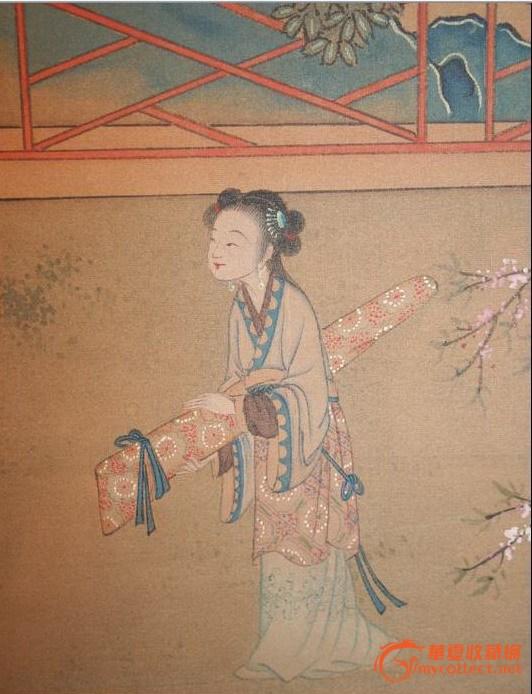 庭院仕女图-老外家里的画请鉴定新老